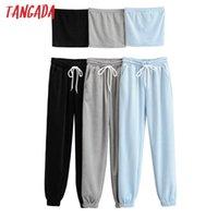 TANGADA 2021 MUJERES STUJES CONJUNTOS CAMIS TOPS Traje de algodón 2 piezas Conjuntos Sujetadores Suit Pantalones Trajes 4P61