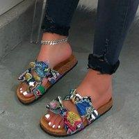 فراشة عقدة فليب تتلاشى امرأة أحذية ثعبان طباعة شقة مفتوحة تو شبشب امرأة عارضة شاطئ حذاء النعال zapatos دي موهير x2wc #