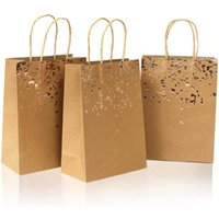 Gift Wrap 10Pcs Kraft Paper Bag Fashion With Handle High-quality Packaging Biscuit Candy Food Cookie Bread