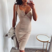 Casual Dresses Womens Knee-Length Dress Knitted Elastic Tank Sleeveless Bodycon Elegant Women Summer Sexy V-Neck Button Party Slim