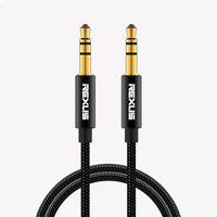 REXLIS Jack 3.5 Male-Male Aluminum Alloy TPE Cloth Audio Cable 3.5mm Speaker Line Aux Cables for iPhone 6 Samsung galaxy s8 Car Headphone Xiaomi redmi 4x Audios