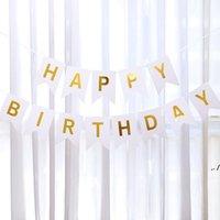 Bayraklar Çocuk Doğum Günü Partisi Dekor Swallowtail Bayrağı Asılı Afiş Tasarrufu Penceresi Mutlu Doğum Günü Partisi Kutlama Bayrakları DWD11170