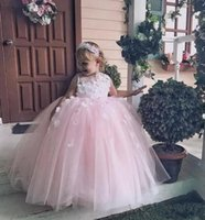 Girl's Dresses Flower Girls With Big Bow Lace Sleeveless Girl Dress For Wedding Pageant Party Gowns