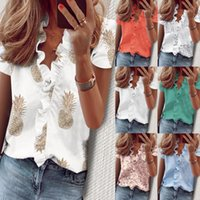 Women's Blouses & Shirts Female leosxs with short sleeves, sexy shirt deep v-neck for women, chiffon frilly t-shirt plus size 4Q8O