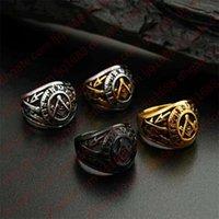 Schwarz plattierter College-Stil Freimaurer Ring Freimaurer Ringe für Männer, Edelstahl Hochzeit Band Ring Schmuck, Weihnachten1
