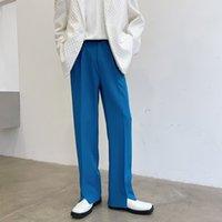 Tendance Simple Hommes Pantalon décontracté Hem Open Supplant Pant Homme Mode Lâche Coréen Streetwear Street Pantalon Homme