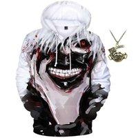 Men's Hoodies & Sweatshirts Unisex Novelty 3D Printed Tokyo Ghoul Anime Pullover Hoodie Long Sleeve Sweatshirt With Necklace
