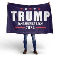 DHL gratis Trump 2024 Prendere l'America Back Black Bottom Double Gun Flag 90 * 150cm Elezione 2024 Bandiere Trump