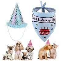 Pet Cat Dog Headwear Cap Hat Scarf Party Costume Это мой день рождения писем печать домашних животных аксессуар Saliva полотенце