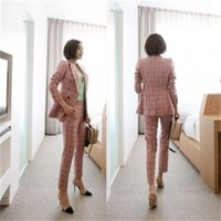 Women's Suits & Blazers Plaid Suit Female Autumn Double-breasted Medium And Long Versatile Loose Two-piece