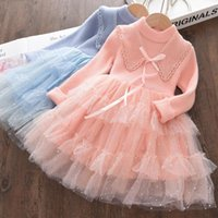 Girl's Dresses Kids Girl Princess Winter Fashion Baby Knitted Sweet Vestidos Children Voile Patchwork Clothes 3-7 Years Sweater