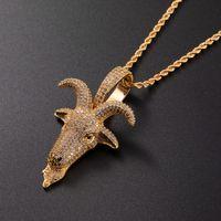 Micro Pave Tier Schafe Kopf Anhänger Gold Silber Überzogene Zirkon Hip Hop Halskette Für Männer Rock Kette Schmuck