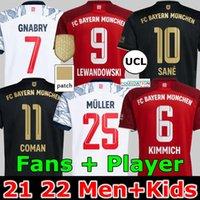 21 22 FC Bayern Munich Lewandowski Soccer Jersey Goretzka Fãs Versão Jogador Home Vermelho Sane Gnabry Coman Muller Davies Kimmich 2021 2022 Homens + Kid Kit Camisa de Futebol