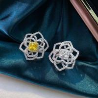 HBP Fashion Luxury New 925 Pure Silver Anello Diamante ad alto carbonio da donna * 5 Personalizzato Separazione semplice Separazione Electroplating Flower Bianco