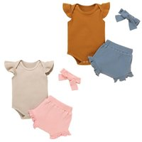 kids Clothing Sets girls outfits infant toddler Flying sleeve Tops+ruffle shorts+Headband 3pcs set summer Boutique fashion baby clothes