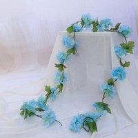 2,2 м Искусственные вишневые цветы цветы свадебные гирлянды плющ украшения поддельные шелковые цветы виноградные лозы для партийной арки дома декор струны ZZE5160