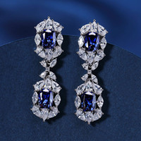 HBP Luxury New 925 Sterling Silver Fashion Blue Blue Geométrico Pequeño Cristal Popular Pendientes Personalizados