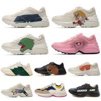 Más reciente Rhyton Cuero Sneaker Mens Papá zapatos con onda de fresa Boca Tiger Web Imprimir Lujo Vintage Trainer Mujeres Diseñador Botas Zapatos