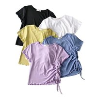 Women's T-Shirt Side Drawstring Design Fashion Short-sleeved With Curl Tops Summer Casual Solid Slim Short Top T-shirts Female Tee