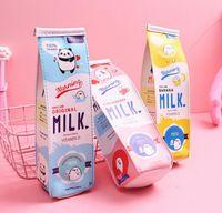 Boîte à crayons de lait nouveautés dessin animé étudiant enfants boîte de crayon solide PU imprimé lait carton boîte coiffe garçons filles monnaie sacs à repasser dame maquillage fermeture éclair
