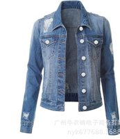 Autumn Women Clothing Denim Coat Holes Ripped Full Sleeves Turn Down Neck Single-breasted Pocket Distressed Casual Jean Coats Outwear Lady Jacket Blue Black