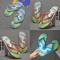 Manufacturer direct sales 2021 summer new men's Korean two color letter printed herringbone beach slippers A7Tm#