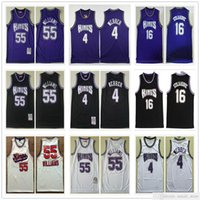 Malha costurada homens Chris 4 Jerseys Webber Vintage Branco Roxo Cor Preto Peja 16 Stojakovic Jason 55 Williams Basketball College Camisas