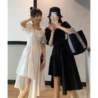Casual Dresses Skirt Women's Summer Dress French Temperament Waist Closing Minority Designer Irregular Stitching Long Clos