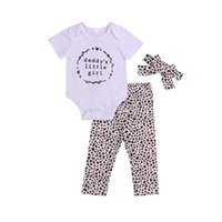 Clothing Sets 3Pcs Baby Girls Outfit, Summer Letter Printing Short Sleeve Round Collar Romper + Leopard Print Long Pants Headwear Set