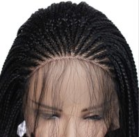 Synthetic braid lace front wigs higher temperature ristant fibre wig 24inch