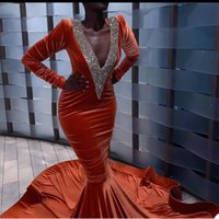 2021 Sexy Backless Orange Evening Dresses Deep V Neck Appliques Velvet Mermaid Prom Dress Rose Ruffles Special Occasion Party Gowns