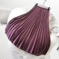 Sherhure Kış Kadın Yün Etekler Yüksek Bel A-Line Uzun Pileli Etek Yüksek Kaliteli Kadın Etek Faldas Jupe Femme SAIA 210202