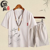 Çin tarzı gevşek rahat pamuk ve keten takım pijama erkek yaz ince keten nakış ev giysileri, x0610 dışında giyilebilir