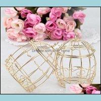 Event Festive Party Supplies Home & Garden Gold Favor European Romantic Wrought Iron Birdcage Candy Tin Box For Wedding Favors Lx6894 Drop D