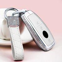 Diamond Zinc Alloy Leather Car Key Case Cover Chain keychain For Mercedes A B E C S Class E260 W205 W204 W176 CLA for Women