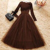 Femelle maille maille patchwork robe à manches longues robe robe élégante femme décontractée robes de ligne tricotées WQ1286 Dropship