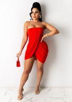 Kleider explosive sexy unregelmäßige plissierte Röhren-Top-Rock-Kleid