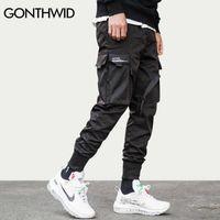 Гондидская лента пряжки мульти-карманы Гаремские бегуны брюки уличные 2020 мужчин хип-хоп случайные грузовые спортивные штаны брюки брюки мужчина х0721