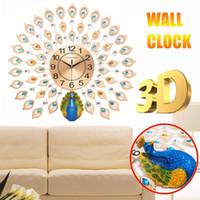 큰 3D 다이아몬드 크리스탈 석영 공작 벽시계 시계 유럽 현대 디자인 홈 거실 장식 침묵 벽 시계