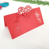 Grußkarten 50 stücke Weiß Liebe Herz Laser Cut Hochzeit Party Tisch Name Platz Gunst Dekor Dekoration Geburtstag 7Z SH928