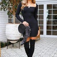 Frauen Langarmkleid Dünne Bodycon Tunika U-Neck Vestido Casual Bleistift Kleid Paket Hüfte für weibliche heiße Verkauf