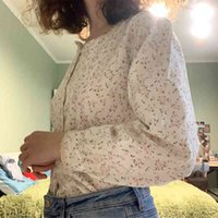 HZIRIP корейские женские блузки весенние летние сладкие моды квадратный воротник повседневная печатная рубашка с длинным рукавом женщин волнует рубашки 210402