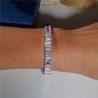 Fashion Tennis Bracelet Emerald cut Diamond zirconia White Gold Filled Engagement Wedding Bracelets for women Bridal Gift