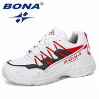 Bona 2020 Новые дизайнерские Женщины Ходьба Обувь Открытый Кроссовки Помощные Рост Платформа Дышащие Корзины Микрофибры Femme Comfy A4QT #