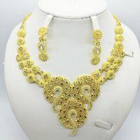 Earrings & Necklace Flower Sets For Women Dubai African Gold Jewelry Set Bride Rings Nigerian Wedding Jewelery Gift