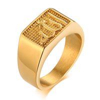 VNOX Square Top Ring para Hombres Tono Oro Tono Sello de Acero Inoxidable Anillos Sello Casual elegante Sello Anel 299 T2