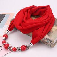 Весна осень причудливый бусы кулон ожерелье кольцо шарф женские шифоновые шарф хиджабы с кулонкой Follard Femme аксессуары шарф
