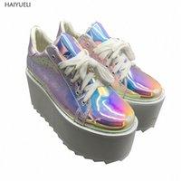 Kadın Ayakkabı Sonbahar Punk Ayakkabı Rahat Creepers Platformu Konfor Kadınlar Için Lace Up Platform Kama Flats H6Q9 #