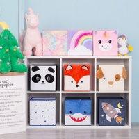 Cube Cute Cartoon Animal Pattern Storage Box For Toys Organizer Folding Bins Plush Toy Box For Kids For Kids Storage Basket 210309