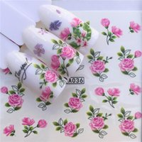 1 hojas 2021 DIY Designer Traslado de agua TIPS Uñas Art Pink Rose Flor Pegatina Calcomanías Mujeres Belleza Boda Nails